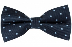 Navy Blue Pre-Tied Silk Bow Tie With Light Blue Dots